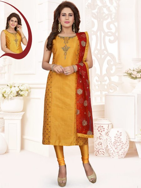 Mustard Yellow Silk Embroidered Party Churidar Pant Kameez