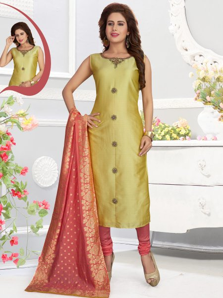 Yellow-Green Silk Embroidered Party Churidar Pant Kameez
