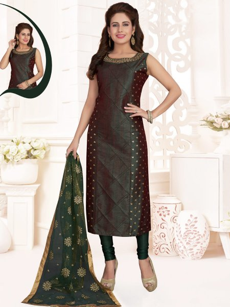 Hunter Green Silk Embroidered Party Churidar Pant Kameez