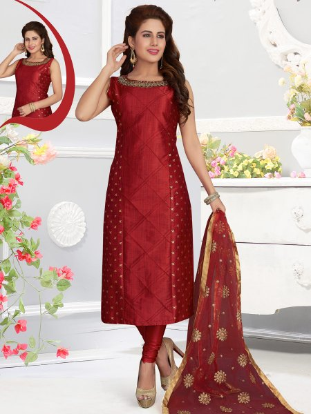 Maroon Silk Embroidered Party Churidar Pant Kameez