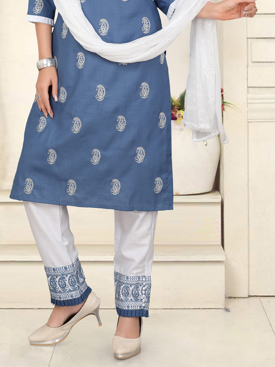 Steel Blue Cotton Embroidered Party Pant Kameez