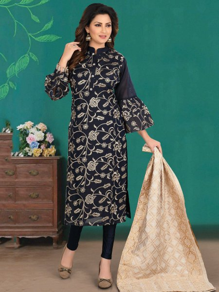 Black Chanderi Embroidered Party Pant Kameez