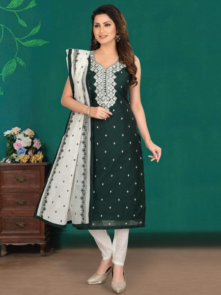 Hunter Green Cotton Embroidered Party Pant Kameez