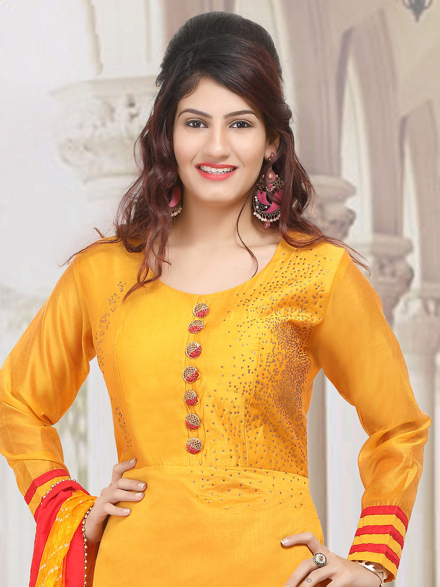 Amber Yellow Chanderi Plain Party Churidar Pant Kameez