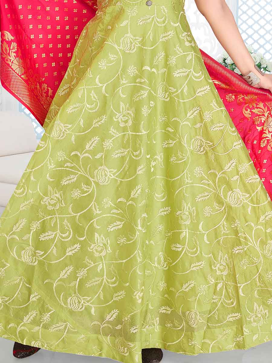 Light Green Chanderi Embroidered Party Lawn Kameez