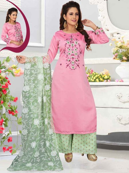 Salmon Pink Cotton Silk Embroidered Party Palazzo Pant Kameez