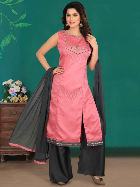 Brink Pink Cotton Silk Embroidered Party Palazzo Pant Kameez