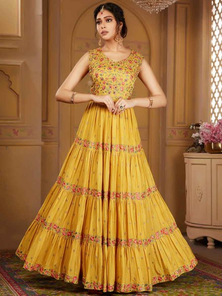 Mustard Yellow Chinnon Embroidered Festival Lawn Kameez