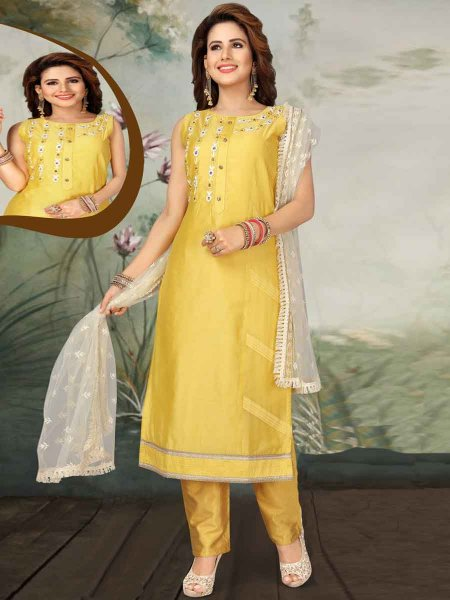 Jonquil Yellow Art Silk Embroidered Party Pant Kameez