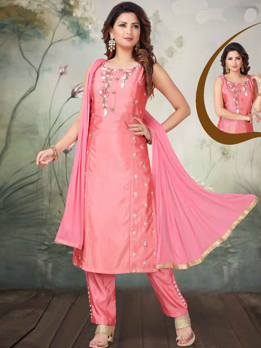 Brink Pink Art Silk Embroidered Party Pant Kameez