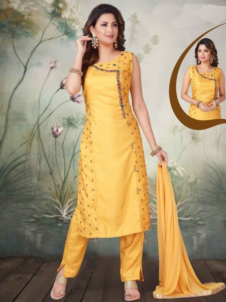 Mustard Yellow Art Silk Embroidered Party Pant Kameez