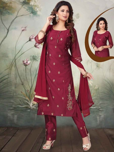 Maroon Art Silk Embroidered Party Pant Kameez