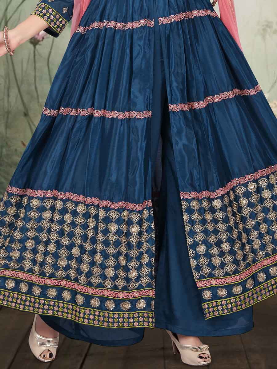 Yale Blue Art Silk Embroidered Party Palazzo Pant Kameez