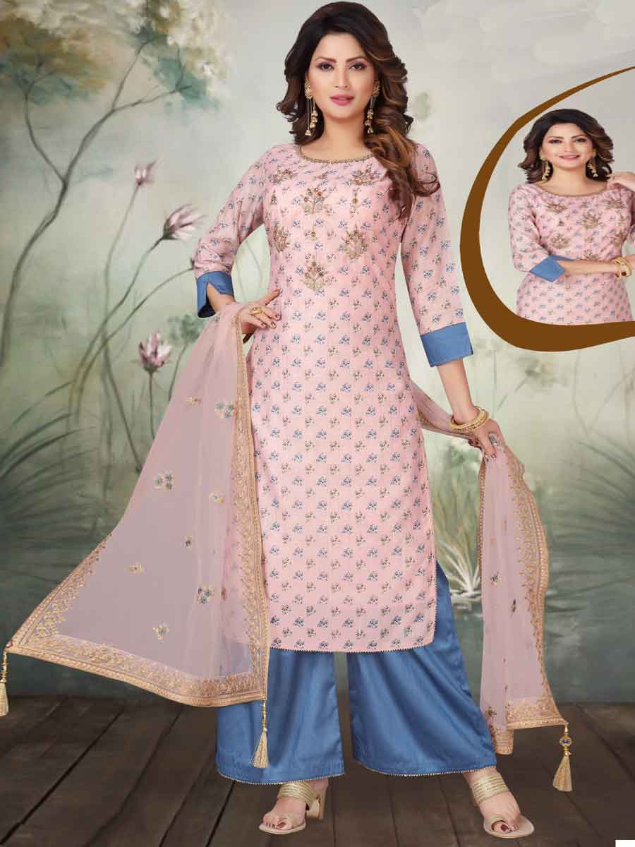 Salmon Pink Chanderi Silk Embroidered Party Palazzo Pant Kameez