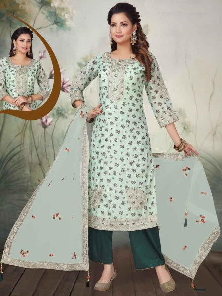 Tea Green Chanderi Silk Embroidered Party Palazzo Pant Kameez