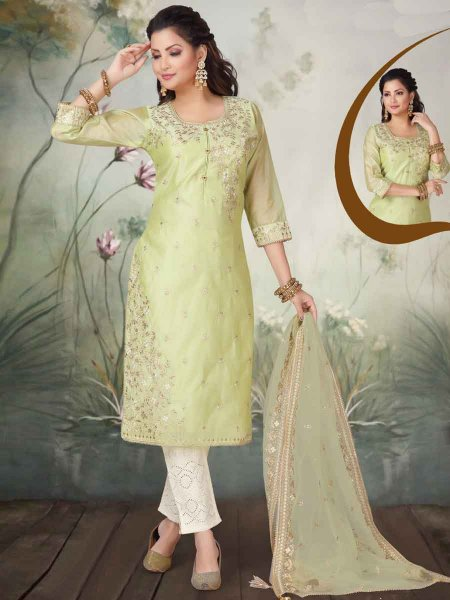 Moss Green Organza Embroidered Party Pant Kameez
