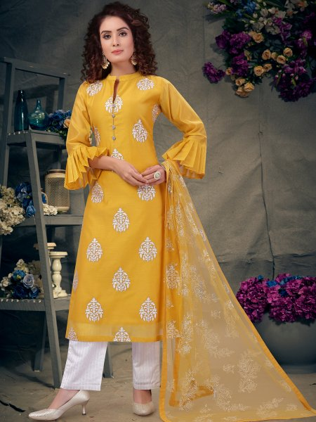 Mustard Yellow Chanderi Embroidered Festival Pant Kameez
