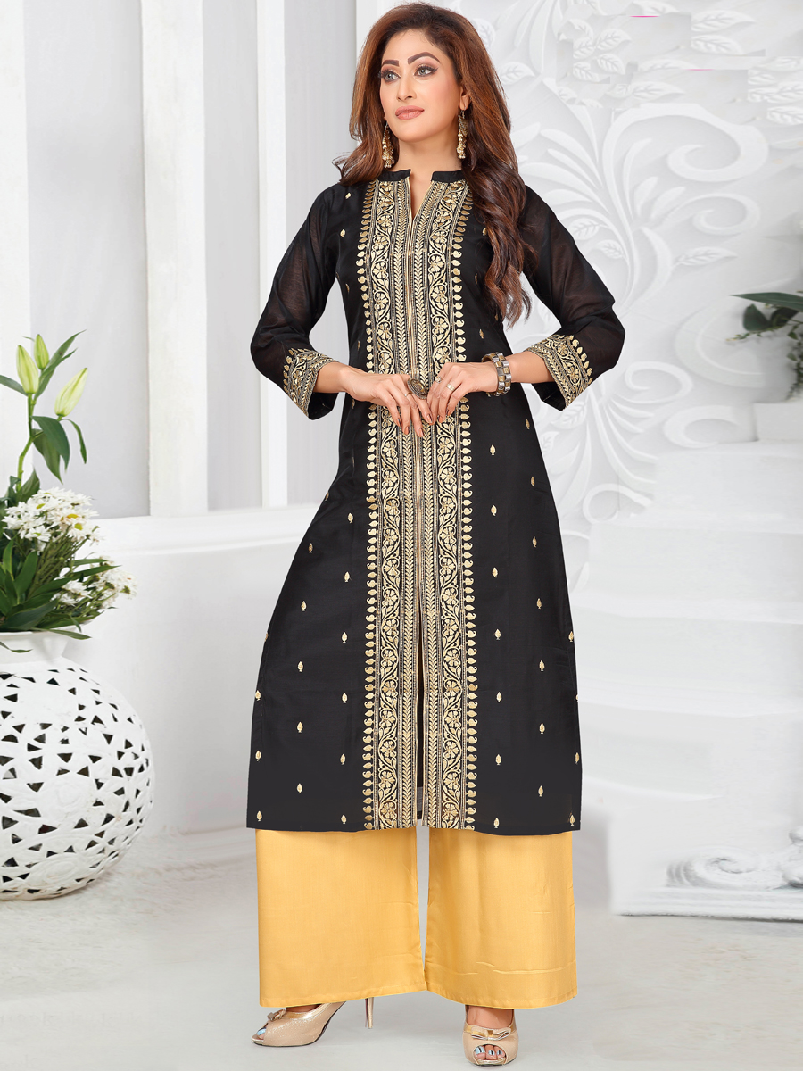 Black Chanderi Embroidered Festival Palazzo Pant Kameez