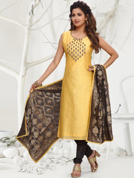 Jonquil Yellow Chanderi Embroidered Festival Churidar Pant Kameez