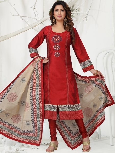 Venetian Red Chanderi Embroidered Festival Churidar Pant Kameez