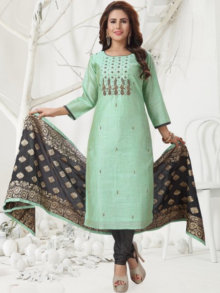 Celadon Green Chanderi Embroidered Festival Churidar Pant Kameez
