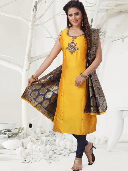 Amber Yellow Chanderi Embroidered Festival Pant Kameez