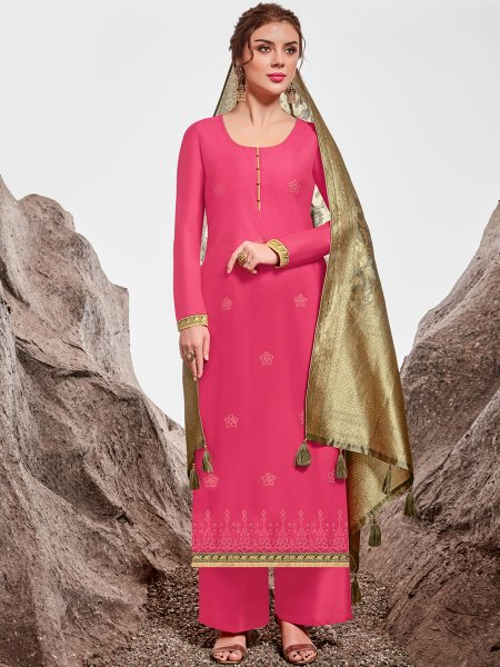 Deep Pink Nylon Chanderi Embroidered Party Palazzo Pant Kameez
