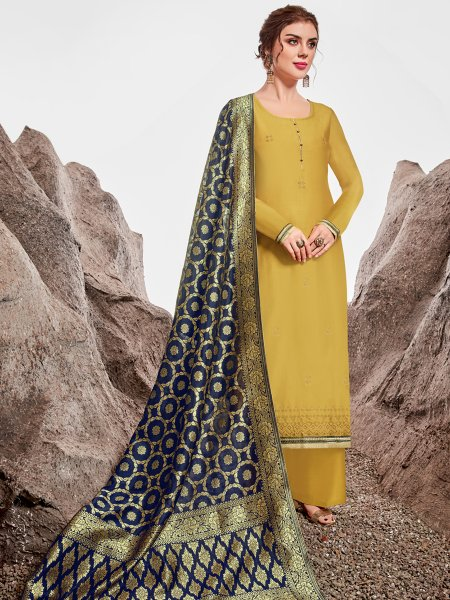 Saffron Yellow Nylon Chanderi Embroidered Party Palazzo Pant Kameez