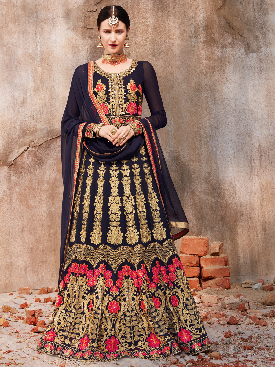 Midnight Blue Faux Georgette Embroidered Wedding Lawn Kameez