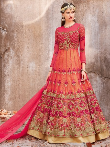 Cerise Pink Net Embroidered Wedding Lawn Kameez