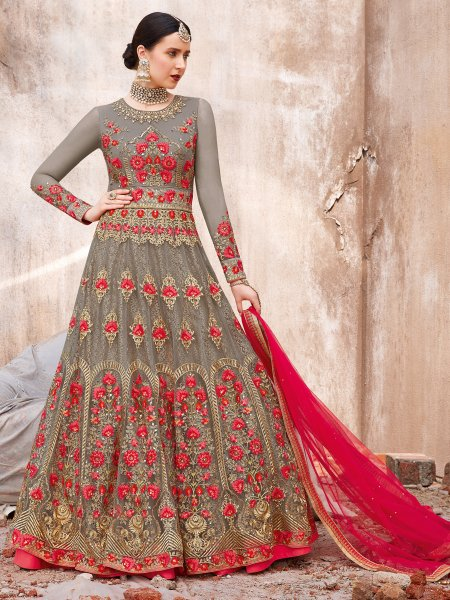 Gray Net Embroidered Wedding Lawn Kameez