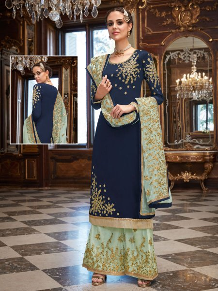 Navy Blue Rangoli Georgette Embroidered Party Palazzo Pant Kameez