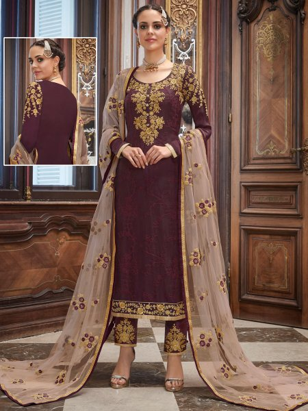 Wine Red Upada Silk Embroidered Party Pant Kameez
