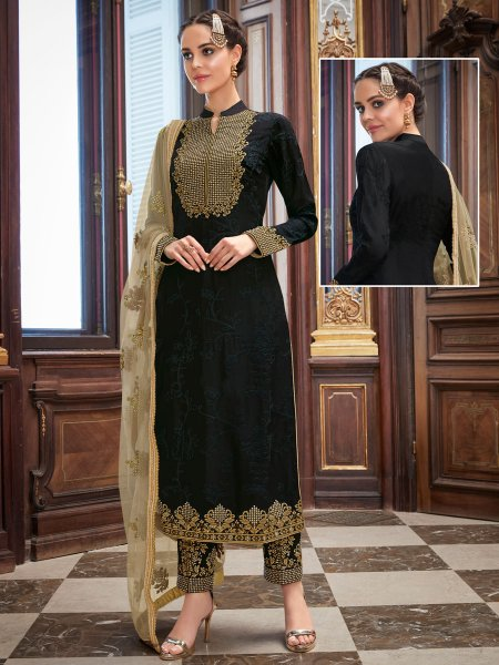 Black Upada Silk Embroidered Party Pant Kameez