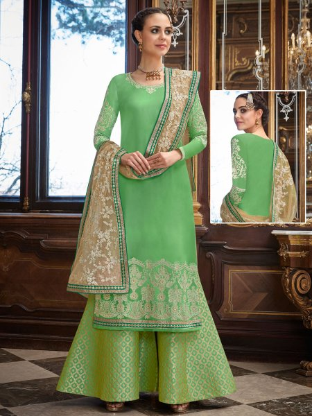 Light Green Upada Silk Embroidered Party Palazzo Pant Kameez