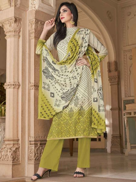 Cream Yellow and Light Olive Green Cotton Silk Printed Casual Palazzo Pant Kameez