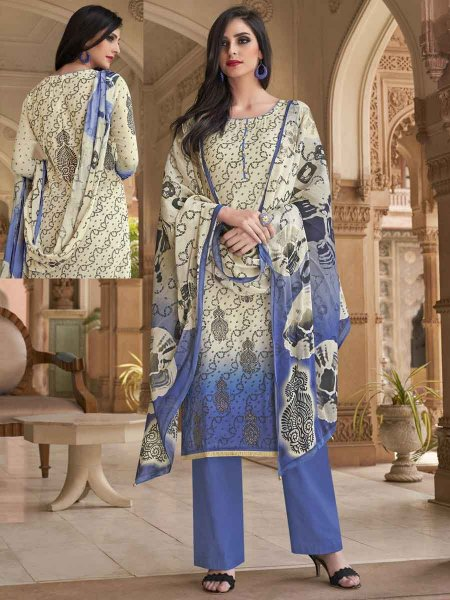 Cream Yellow and Purple Cotton Silk Printed Casual Palazzo Pant Kameez