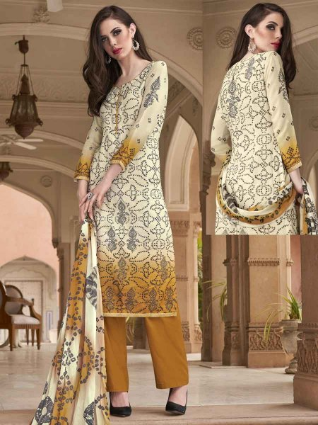 Cream Yellow and Mustard Yellow Cotton Silk Printed Casual Palazzo Pant Kameez