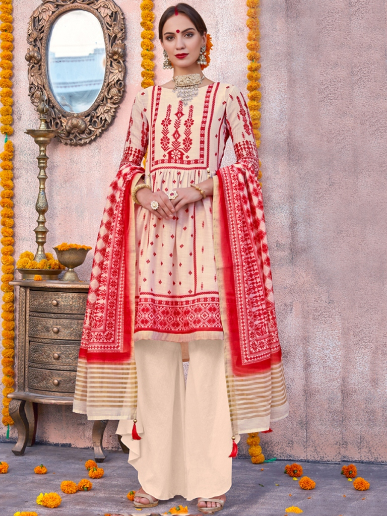 Off-White and Red Poly Linen Printed Casual Palazzo Pant Kameez