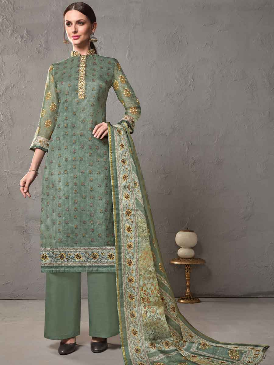 Gray Asparagus Green Cotton Embroidered Casual Pant Kameez