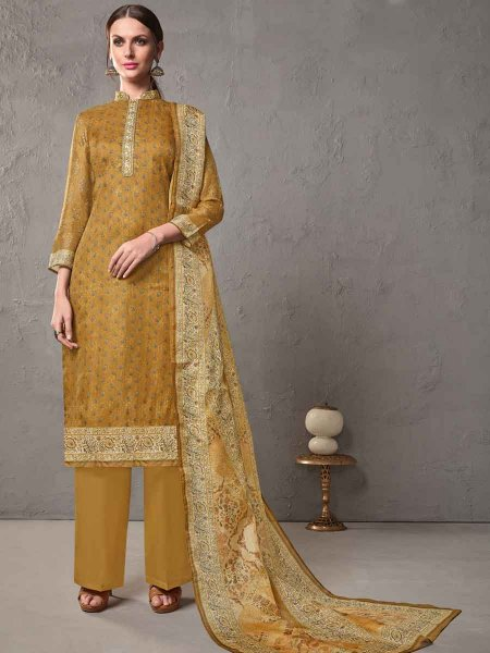 Mustard Yellow Cotton Embroidered Casual Pant Kameez