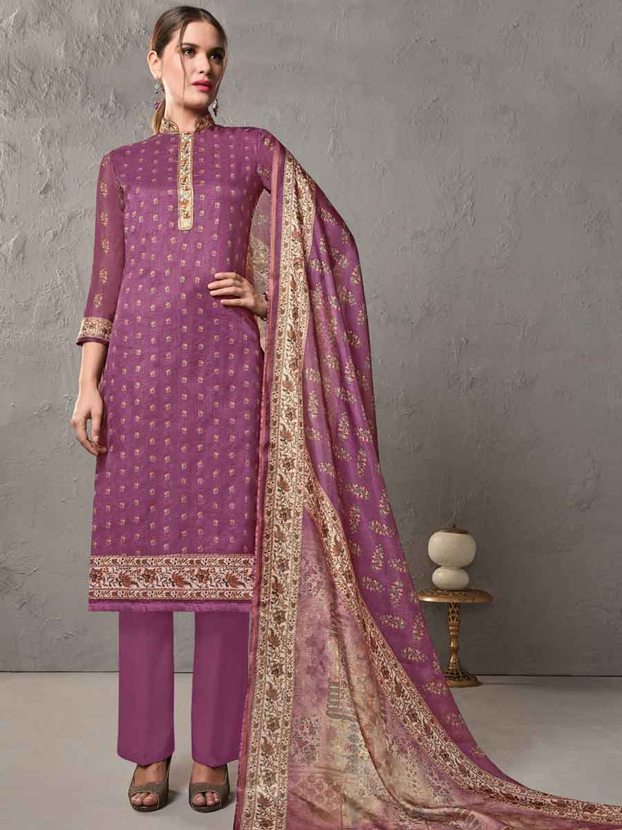 Purple Cotton Embroidered Casual Pant Kameez