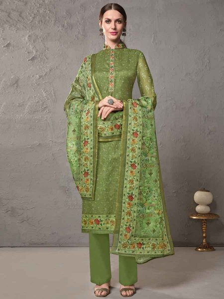 Asparagus Green Cotton Embroidered Casual Pant Kameez