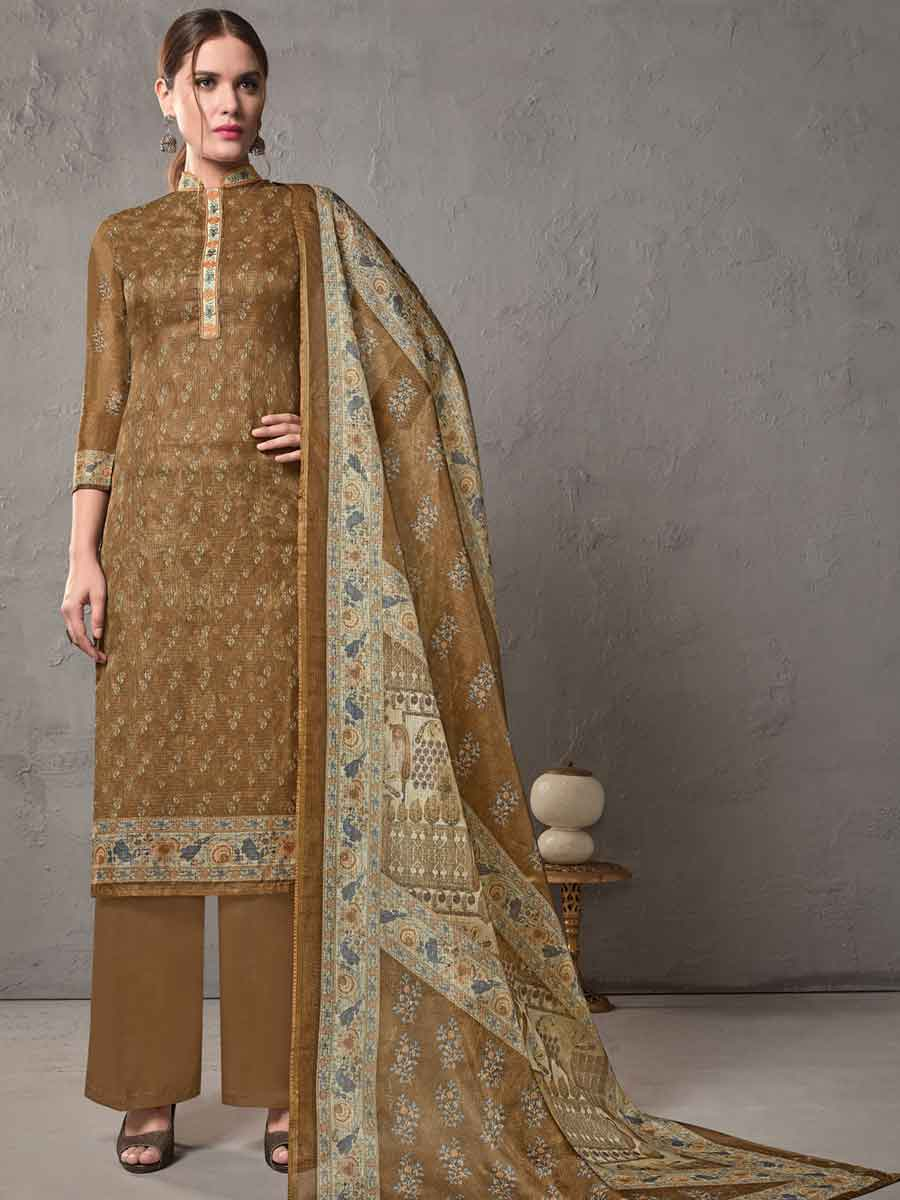 Bronze Brown Cotton Embroidered Casual Pant Kameez