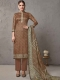 Copper Brown Cotton Embroidered Casual Pant Kameez