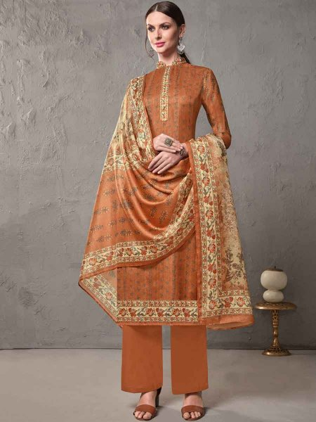 Burnt Orange Cotton Embroidered Casual Pant Kameez