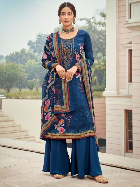 Yale Blue Crepe Embroidered Festival Palazzo Pant Kameez