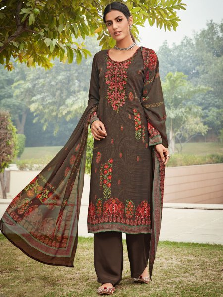 Raw Umber Brown Crepe Embroidered Festival Pant Kameez