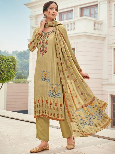 Cream Yellow Crepe Embroidered Festival Pant Kameez