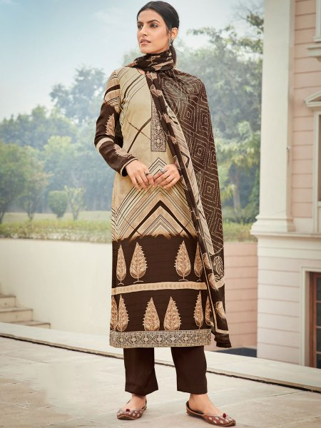 Cream Yellow and Seal Brown Crepe Embroidered Festival Pant Kameez